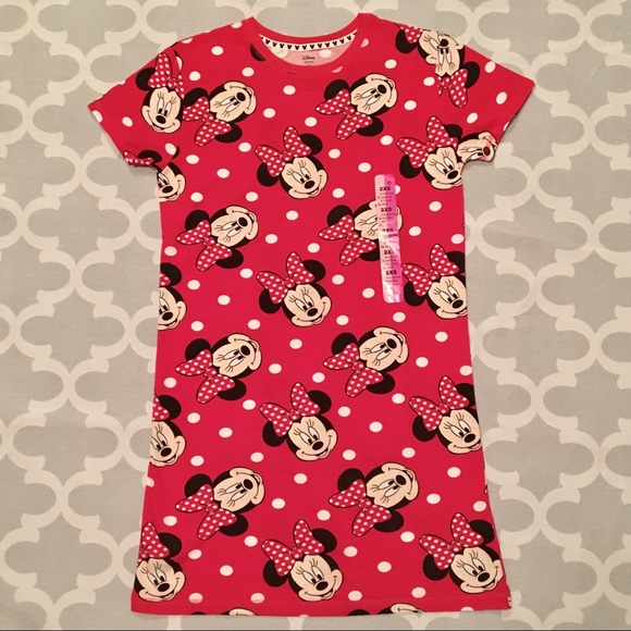 Disney Intimates & Sleepwear | Minnie Mouse Red Short Sleeve Gown ...